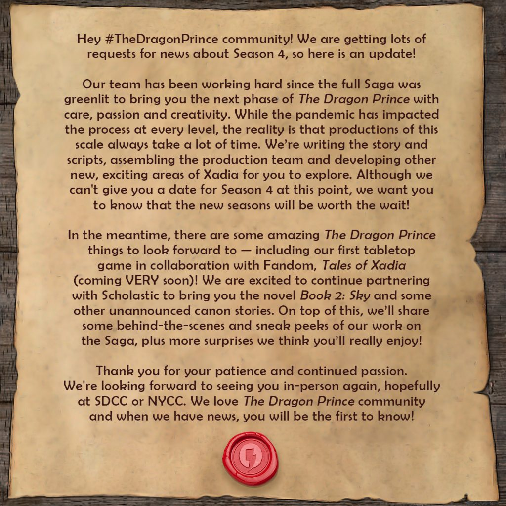 Press release from The Dragon Prince @thedragonprince Twitter account.